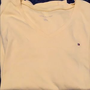 Yellow Tommy v neck knit t shirt with logo large